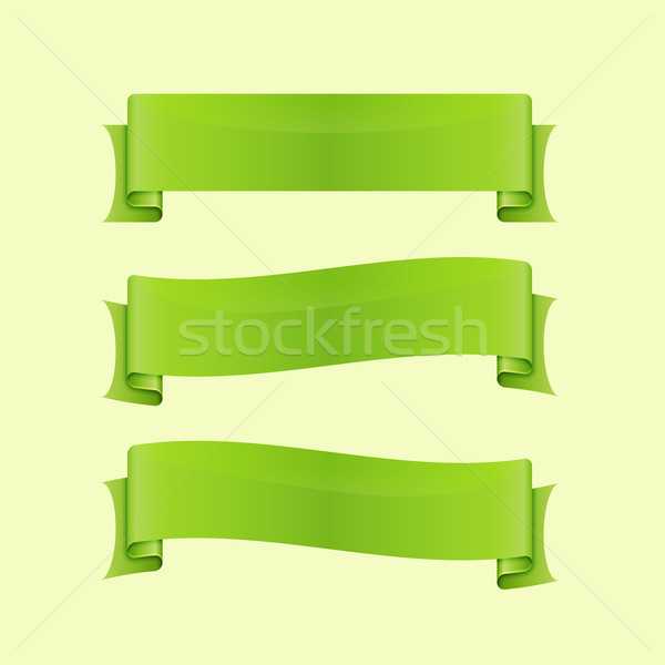 Set of green sleek web ribbon Stock photo © punsayaporn
