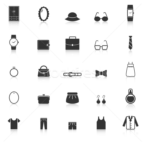 Ubieranie się ikona biały czas wektora garnitur Zdjęcia stock © punsayaporn