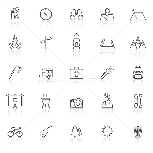 Trekking line icons with reflect on white background Stock photo © punsayaporn