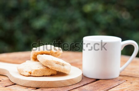 Acajou cookies tasse de café stock photo alimentaire Photo stock © punsayaporn