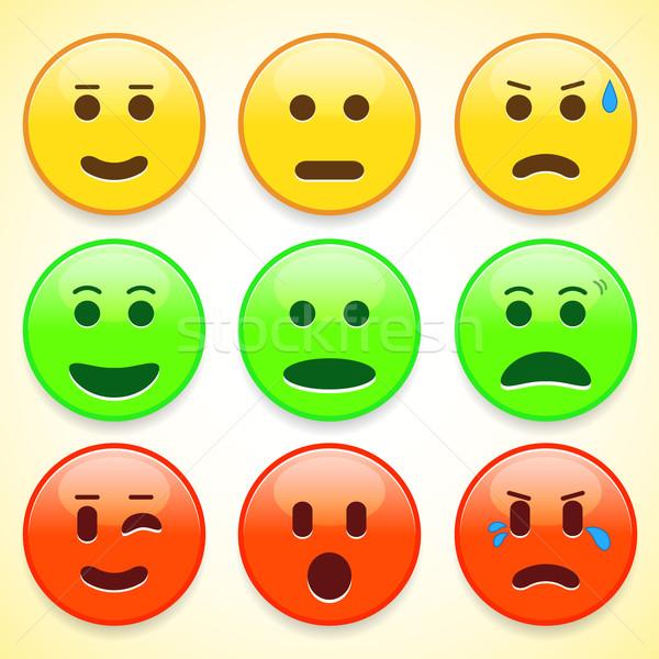 Set of colourful emoticon icons Stock photo © punsayaporn