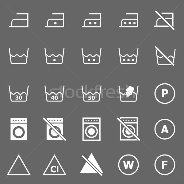 Laundry icons on gray background Stock photo © punsayaporn