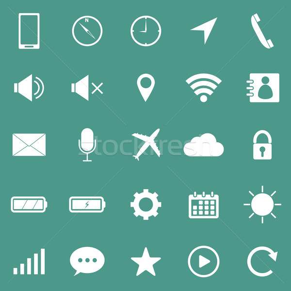 Mobile phone icons on green background Stock photo © punsayaporn