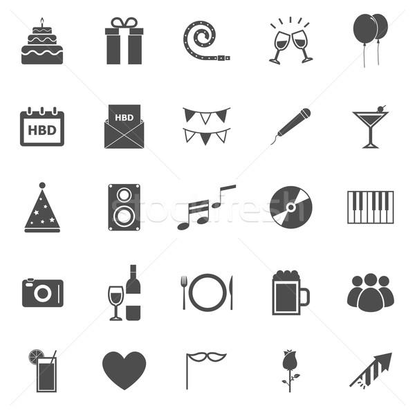 Verjaardag iconen witte voorraad vector muziek Stockfoto © punsayaporn