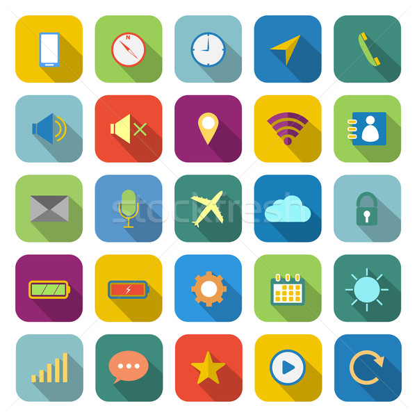 Mobile phone color icons with long shadow Stock photo © punsayaporn