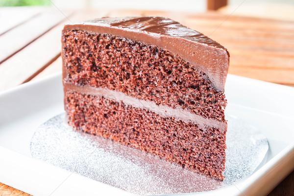 Közelkép darab csokoládé piskóta buli étterem Stock fotó © punsayaporn