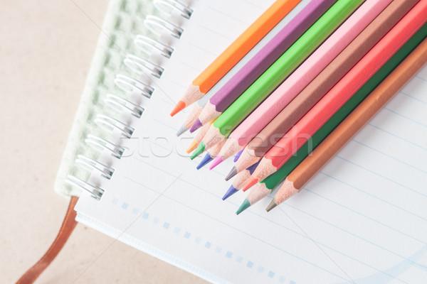 Foto stock: Topo · ver · colorido · lápis · giz · de · cera · spiralis