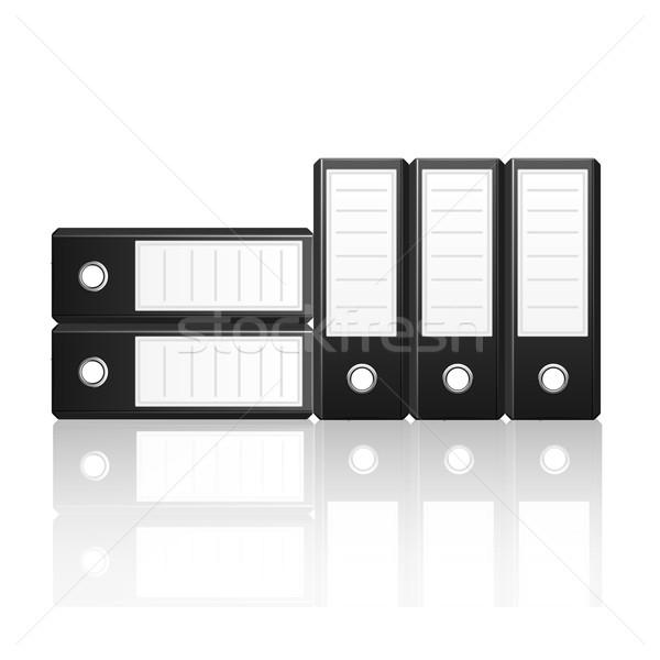 Black binders vertical and  horizontal isolated on white backgro Stock photo © punsayaporn