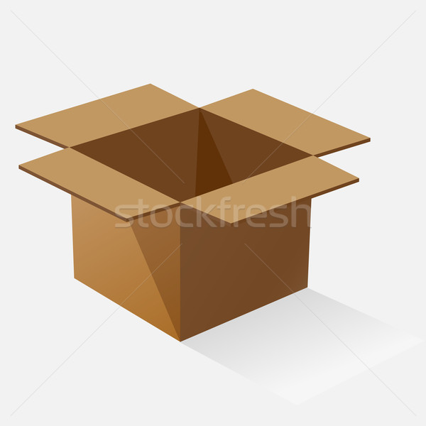 Opened brown paper box with shadow Stock photo © punsayaporn