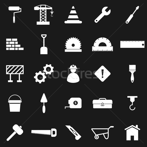 Construction icons on black background Stock photo © punsayaporn