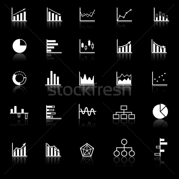 Graph icons with reflect on black background Stock photo © punsayaporn