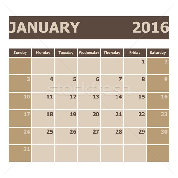 Calendar January 2016, week starts from Sunday Stock photo © punsayaporn