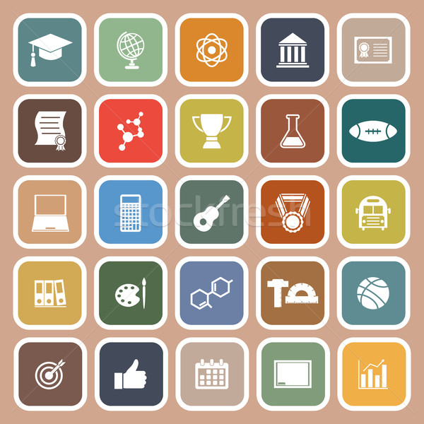 College flat icons on brown background Stock photo © punsayaporn