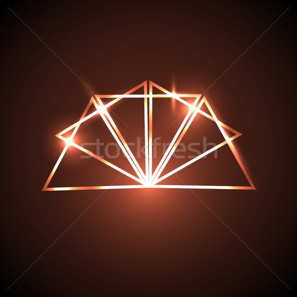 Stock photo: Abstract background with orange neon triangles