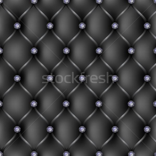 Black leather upholstery pattern background Stock photo © punsayaporn