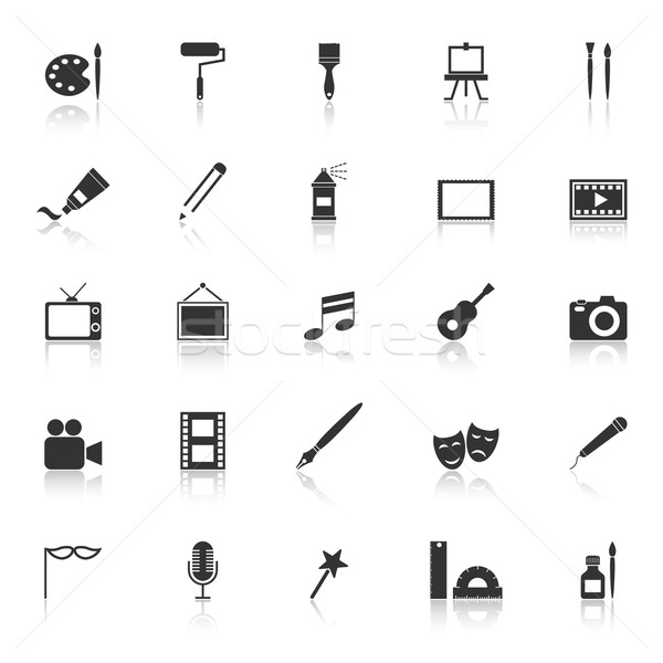 Art icons with reflect on white background Stock photo © punsayaporn