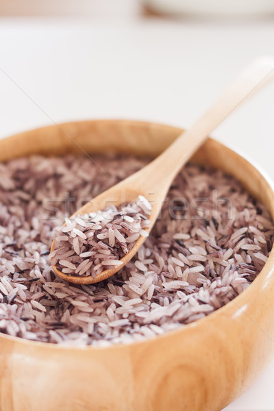 Berry rice in wooden bowl Stock photo © punsayaporn