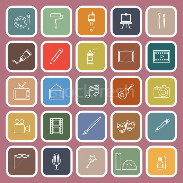Art line flat icons on red background Stock photo © punsayaporn