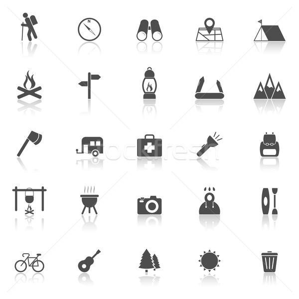 Trekking icons with reflect on white background Stock photo © punsayaporn