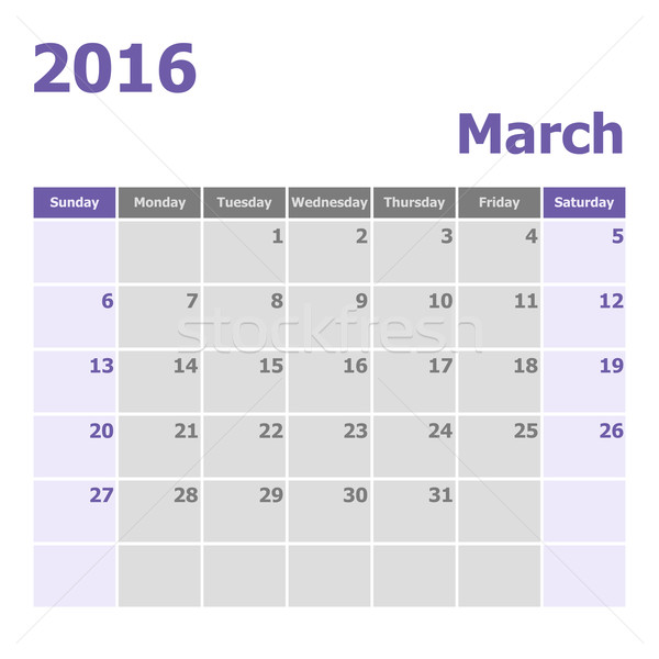 Calendario 2016 semana stock vector color Foto stock © punsayaporn