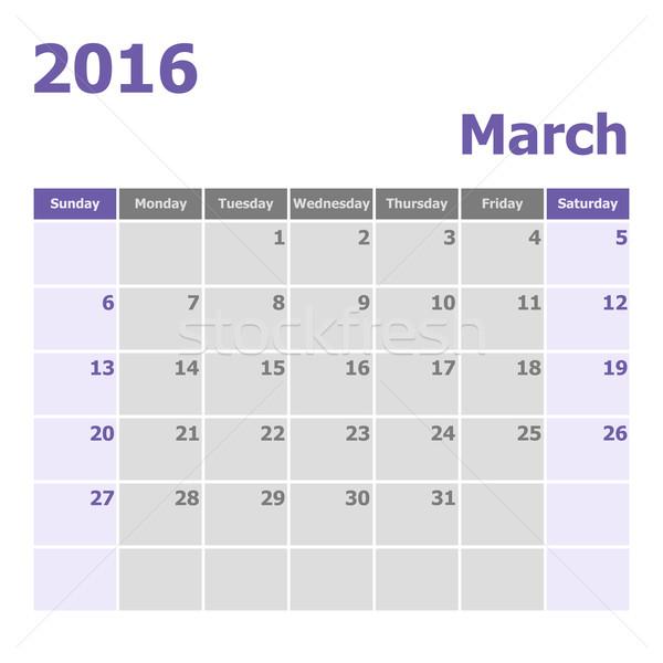 Calendar March 2016 week starts from Sunday Stock photo © punsayaporn
