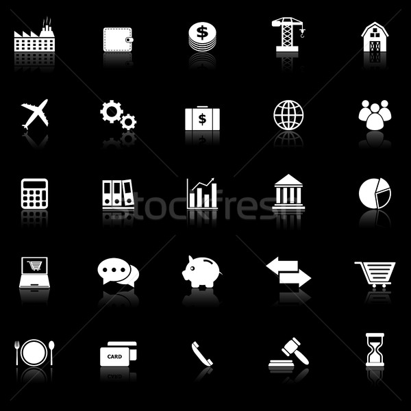 Economy icons with reflect on black background Stock photo © punsayaporn
