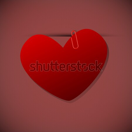 Heart shape paper with paperclip Stock photo © punsayaporn