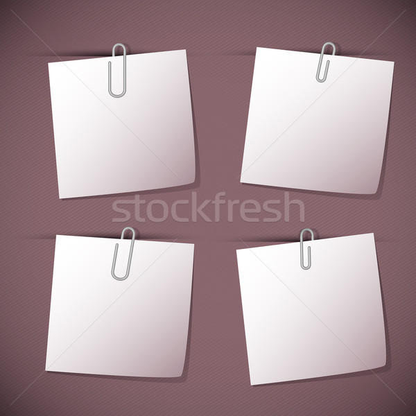 Note papers with paperclip on violet background Stock photo © punsayaporn