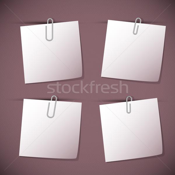 Uwaga kart spinacz fioletowy czas wektora Zdjęcia stock © punsayaporn