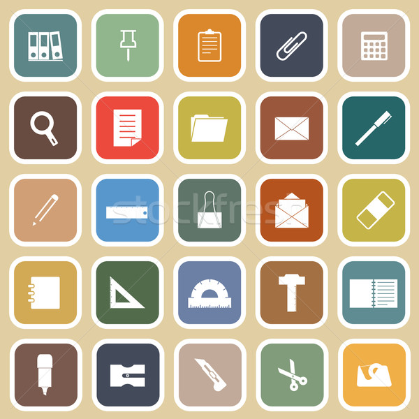 Stationary flat icons on yellow background Stock photo © punsayaporn