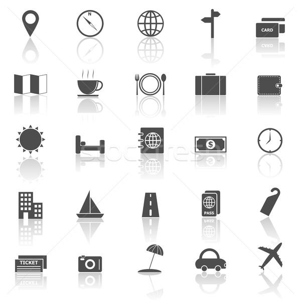 Travel icons with reflect on white background Stock photo © punsayaporn