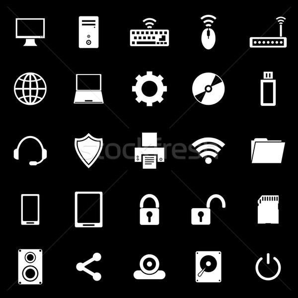 Computer icons on black background Stock photo © punsayaporn