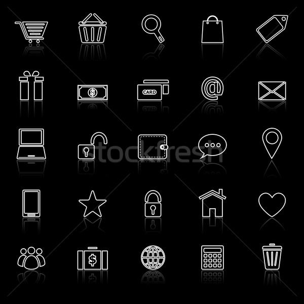 Ecommerce linha ícones preto estoque vetor Foto stock © punsayaporn