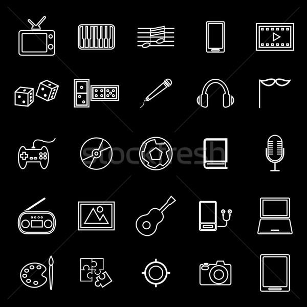Entertainment line icons on black background Stock photo © punsayaporn