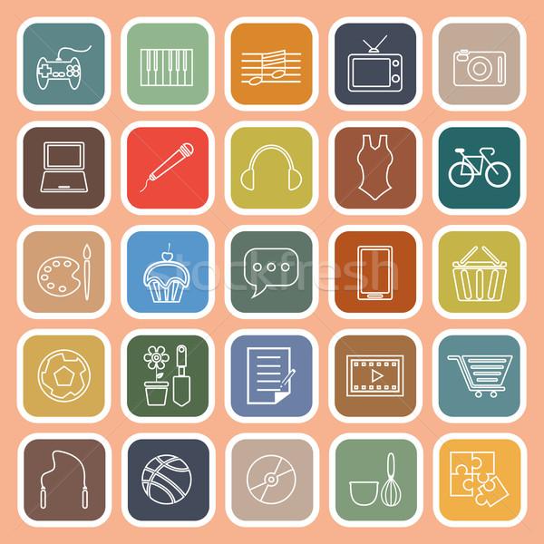 Hobby lijn iconen oranje voorraad vector Stockfoto © punsayaporn