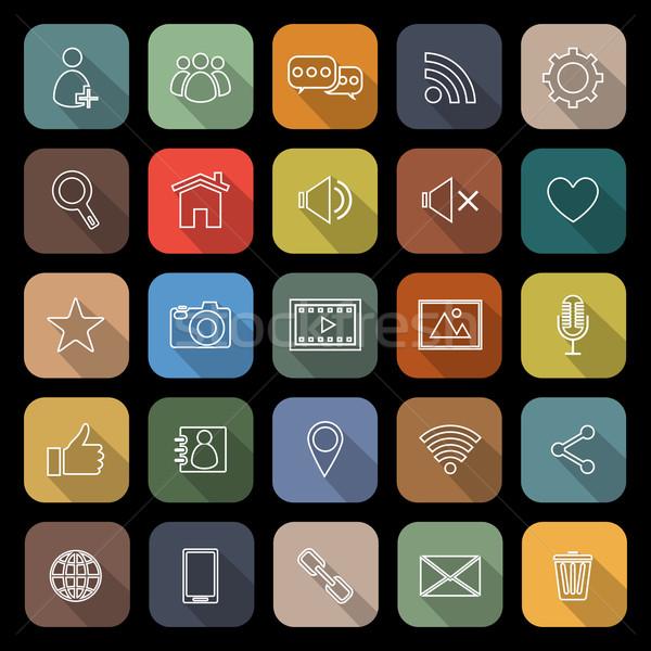 Chat lijn iconen lang schaduw voorraad Stockfoto © punsayaporn