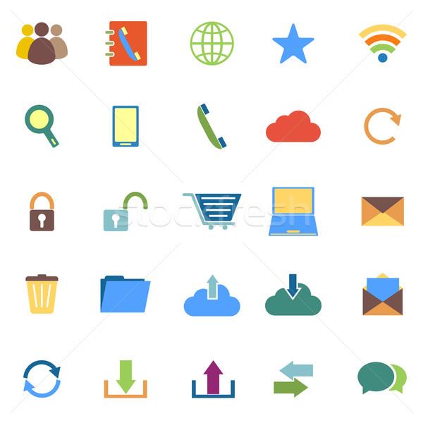 Communication color icons on white background Stock photo © punsayaporn