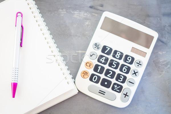 ストックフォト: 電卓 · 帳 · ペン · グレー · 在庫 · 写真
