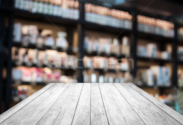 Black and white wooden with coffee shop blurred background with  Stock photo © punsayaporn