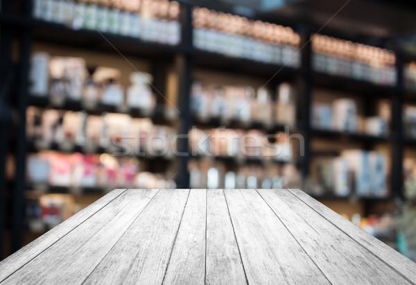 ストックフォト: 黒白 · 木製 · コーヒーショップ · ぼやけた · ぼけ味 · 在庫