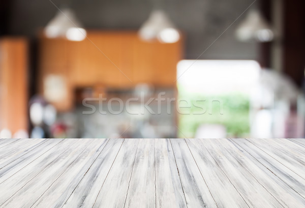 Absztrakt homály kávéház fehér üres asztal Stock fotó © punsayaporn