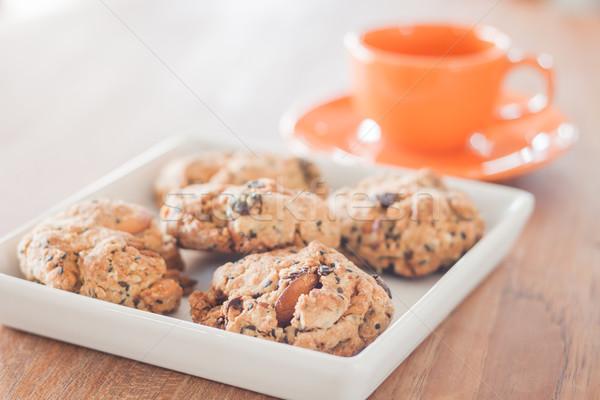 Closeup mixed nut cookies with espresso shot Stock photo © punsayaporn