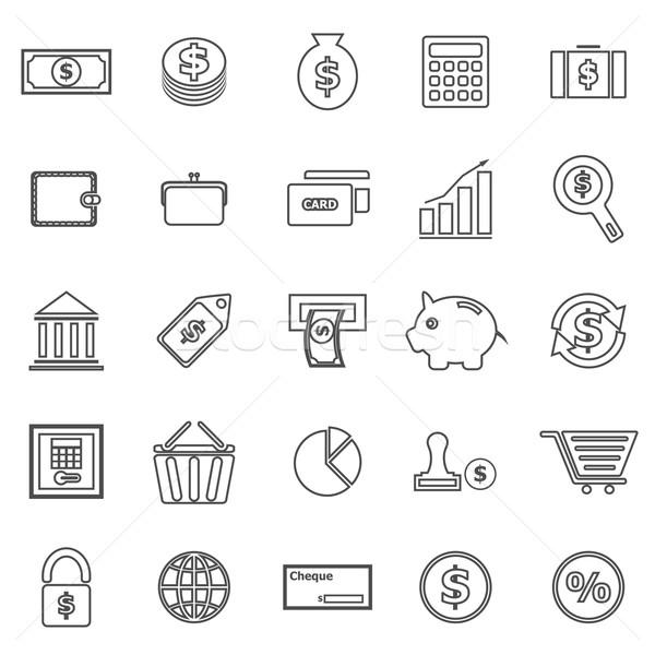 Money line icons on white background Stock photo © punsayaporn
