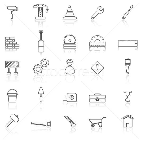 Construction line icons with reflect on white Stock photo © punsayaporn