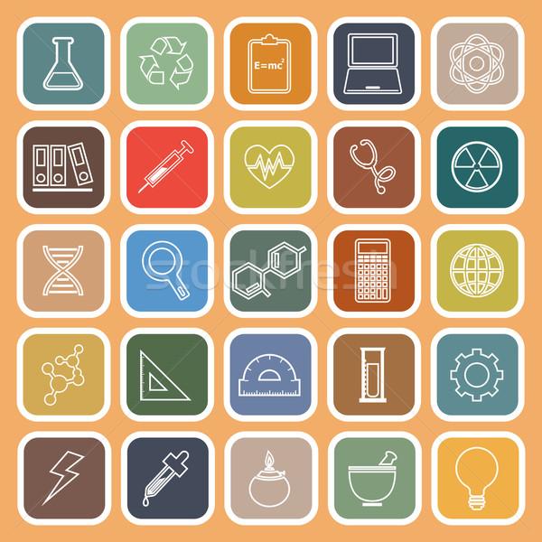 Science line flat icons on orange background Stock photo © punsayaporn