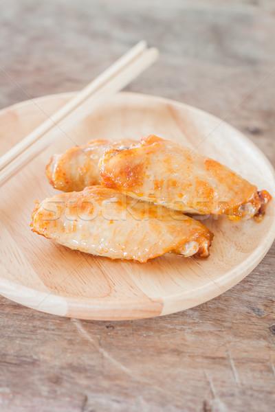 курица-гриль крыльями пластина складе фото Сток-фото © punsayaporn