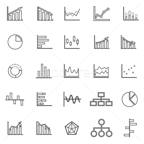Graph line icons on white background Stock photo © punsayaporn