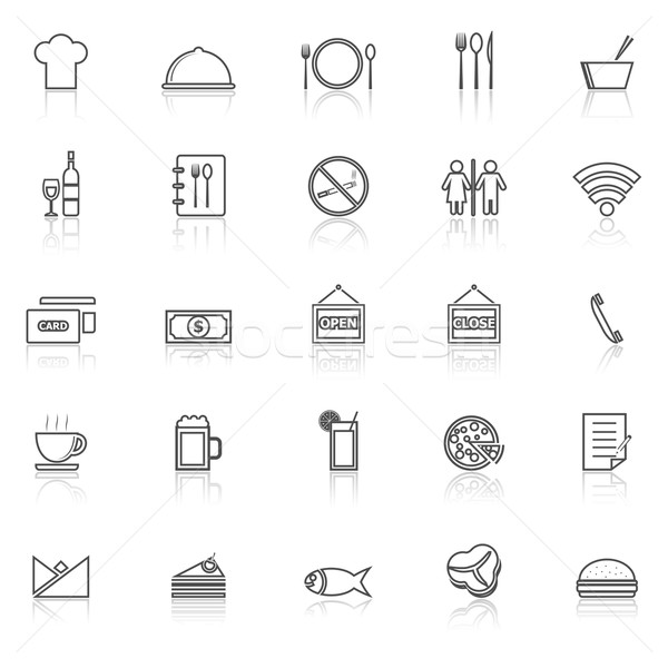 Restaurant line icons with reflect on white background Stock photo © punsayaporn