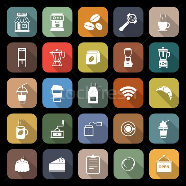 Coffeeshop iconen lang schaduw voorraad vector Stockfoto © punsayaporn
