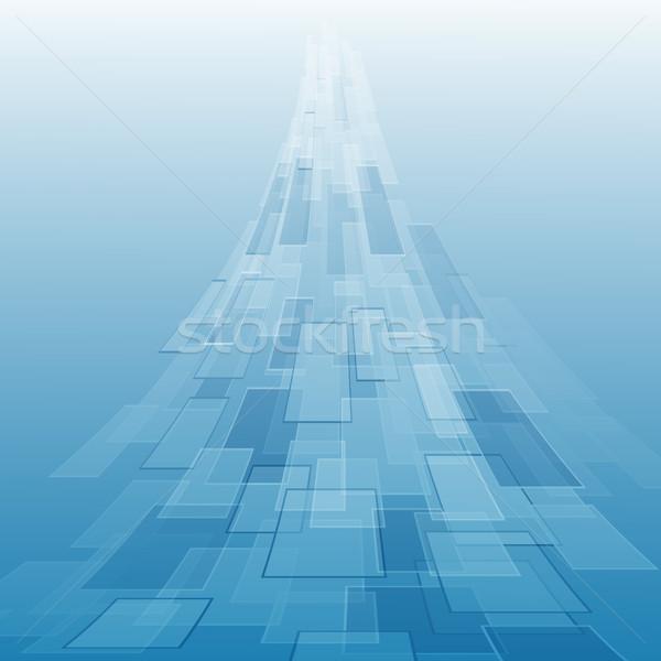 Absztrakt kék mértani stock vektor fény Stock fotó © punsayaporn